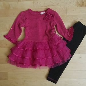 Youngland dress and leggings set. 3T